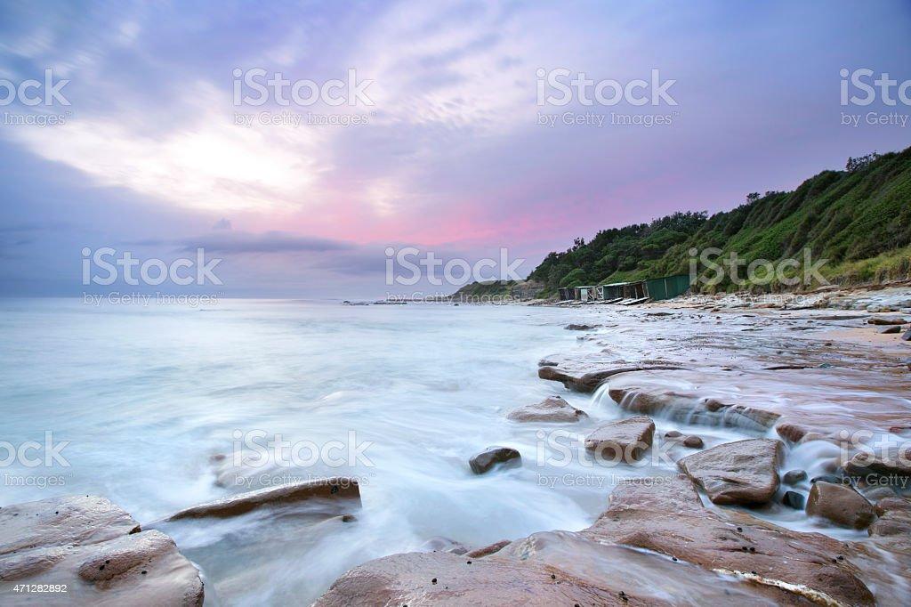 Sandon Point Sheds stock photo