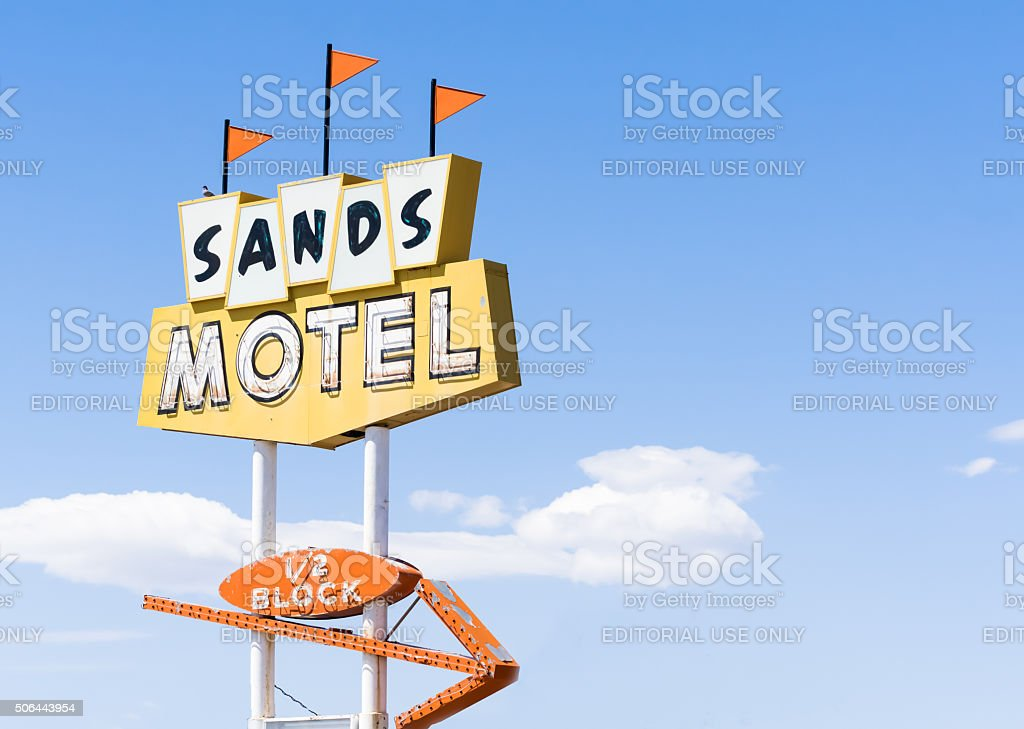 Sands Motel and sign Historic Route 66 Grants , USA stock photo