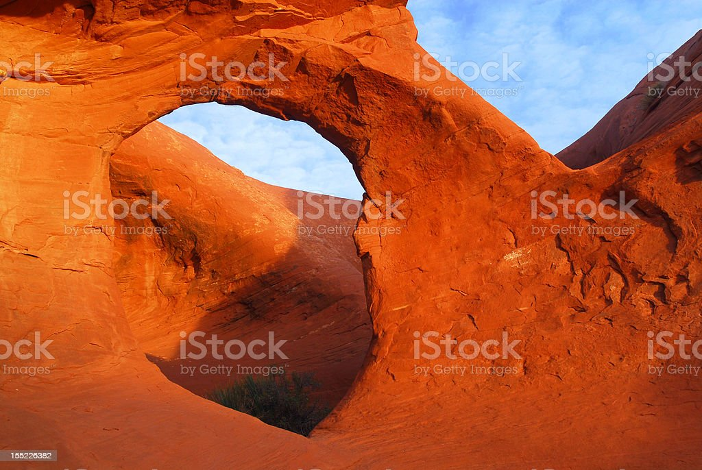 Sandstone arch in Mystery Valley stock photo