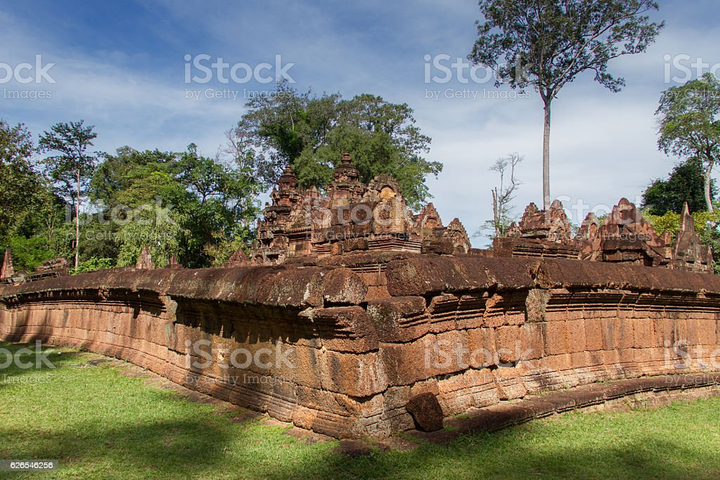 sandstone carving at  banteay srei,Siem Reap,Cambodia stock photo