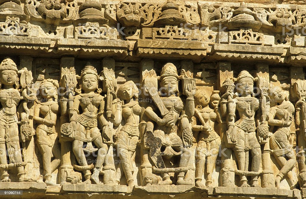 Sandstone carvings, kings and apsaras stock photo