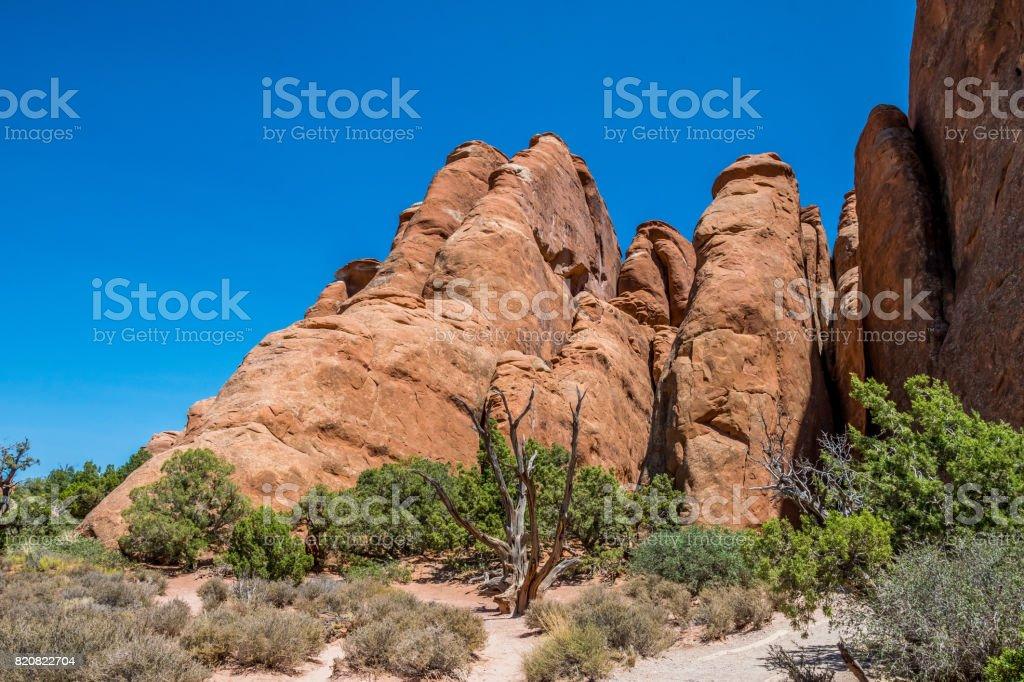 Sandstone cliffs in the Moab Desert. Rocks of sandstone stock photo