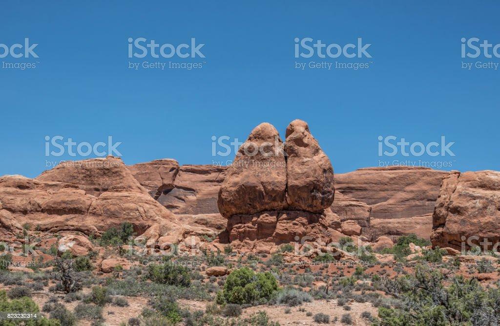 Sandstone cliffs in the Moab Desert, Utah, USA stock photo