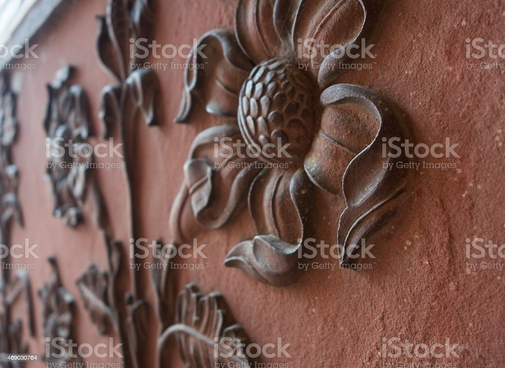 Sandstone Flower Carving stock photo