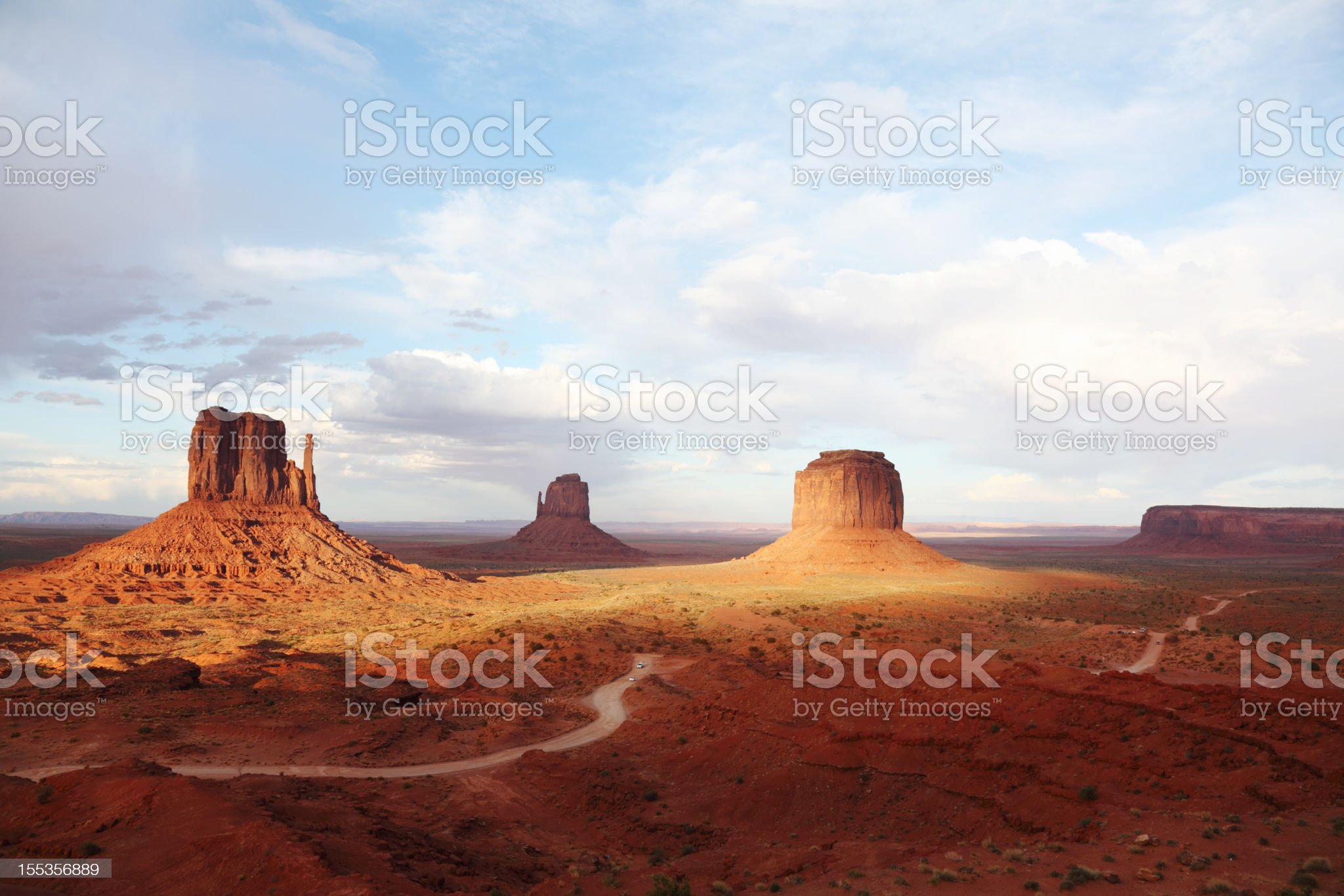 sandstone formation in Monument Valley under cloudy sky royalty-free stock photo