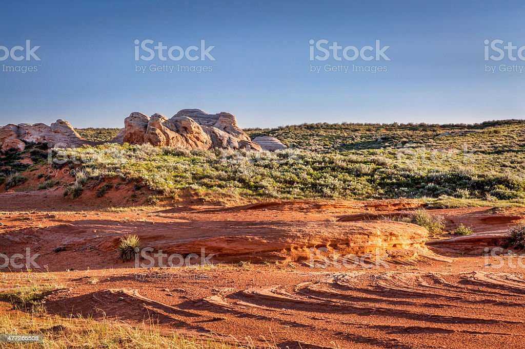 sandstone formations at Sand Creek stock photo
