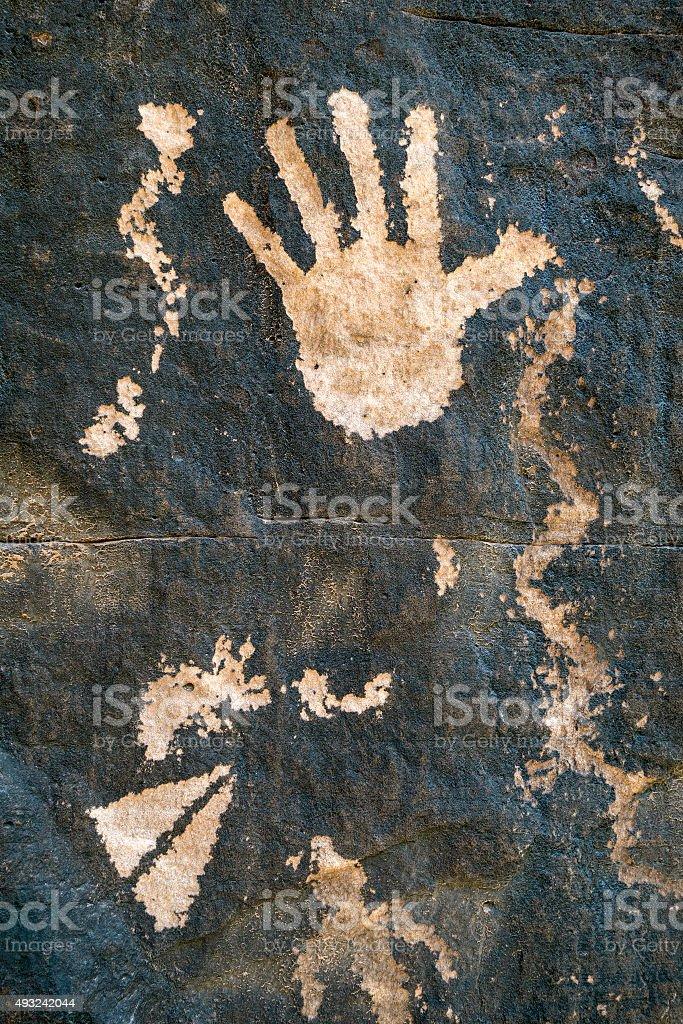 Sandstone hand stock photo
