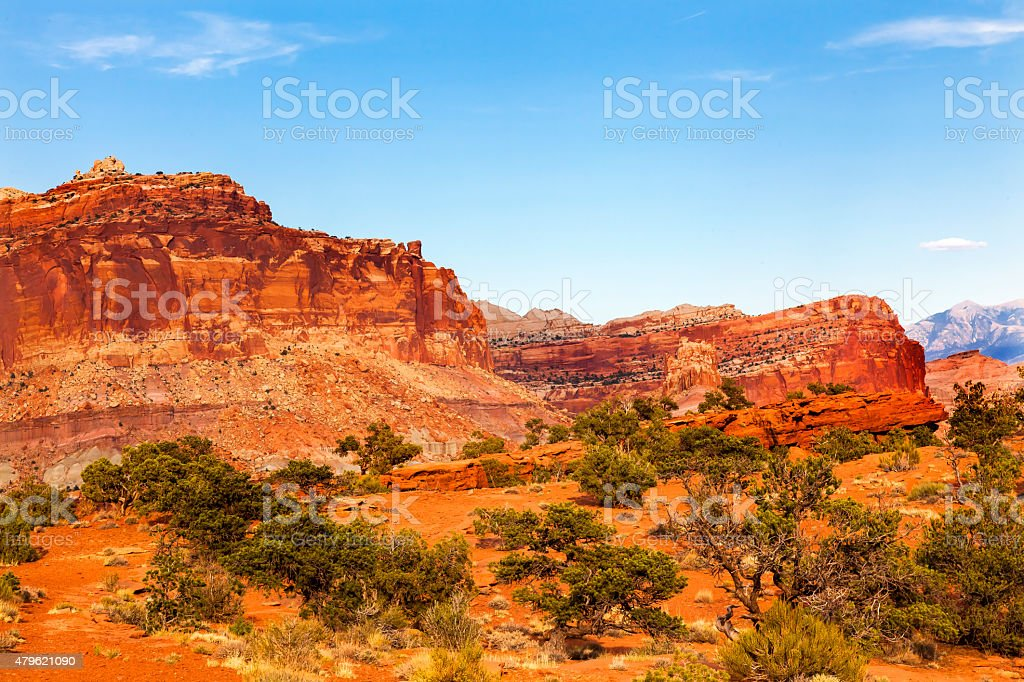 Sandstone Mountain Capitol Reef National Park Torrey Utah stock photo
