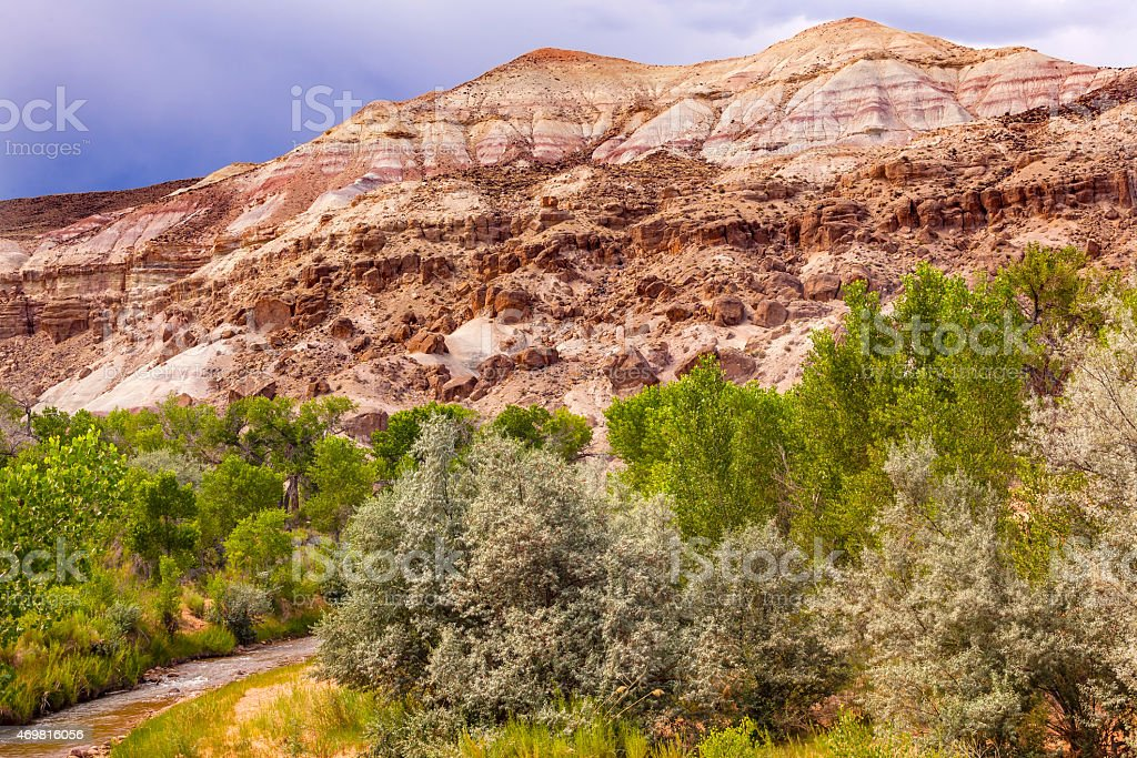 Sandstone Mountain Fremont River Capitol Reef National Park Utah stock photo