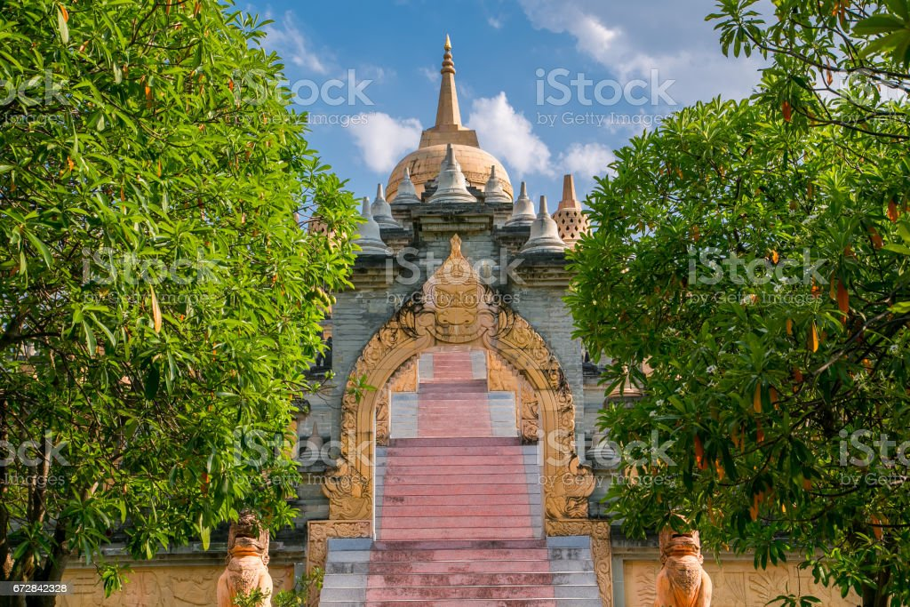 Sandstone Pagoda in Pa Kung Temple at Roi Et stock photo