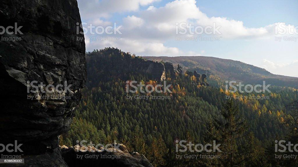 Sandstone Panorama In Autumn Saxon Switzerland stock photo
