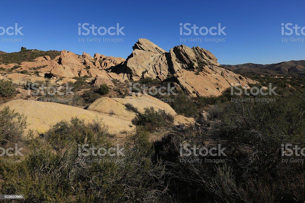 Sandstone rock formations in desert stock photo