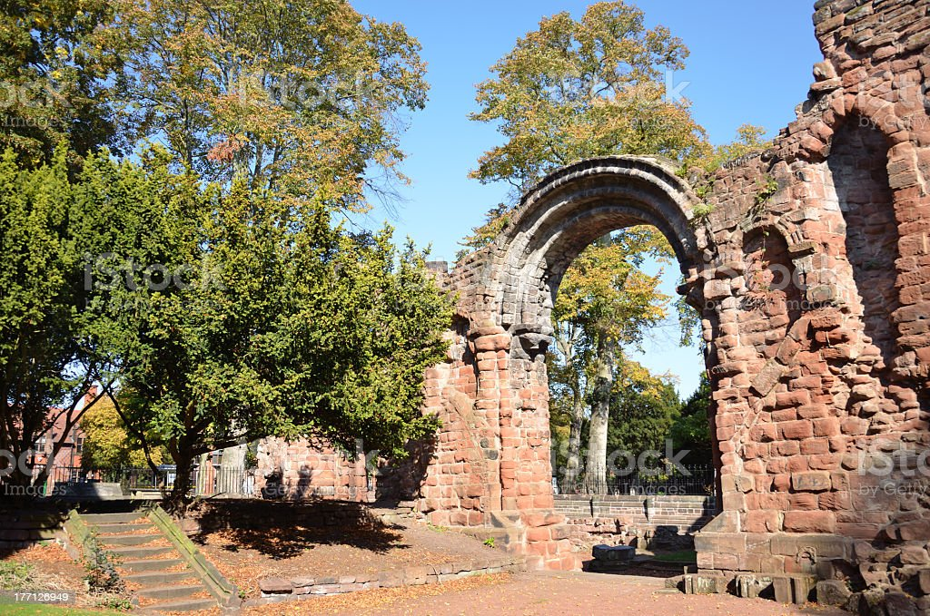 Sandstone Ruins of St John's Church in Chester royalty-free stock photo