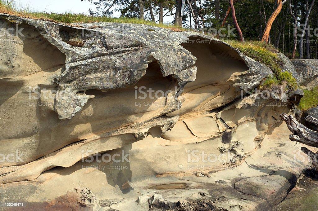 Sandstone shore at Gabriola Island stock photo