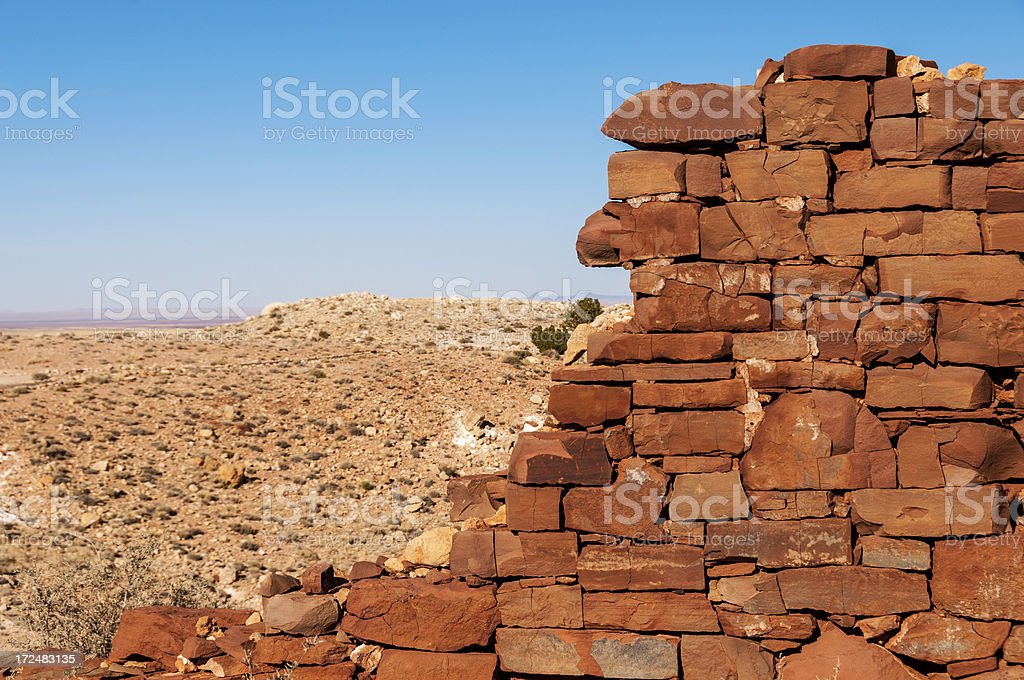Sandstone Slab Wall of Old Building royalty-free stock photo