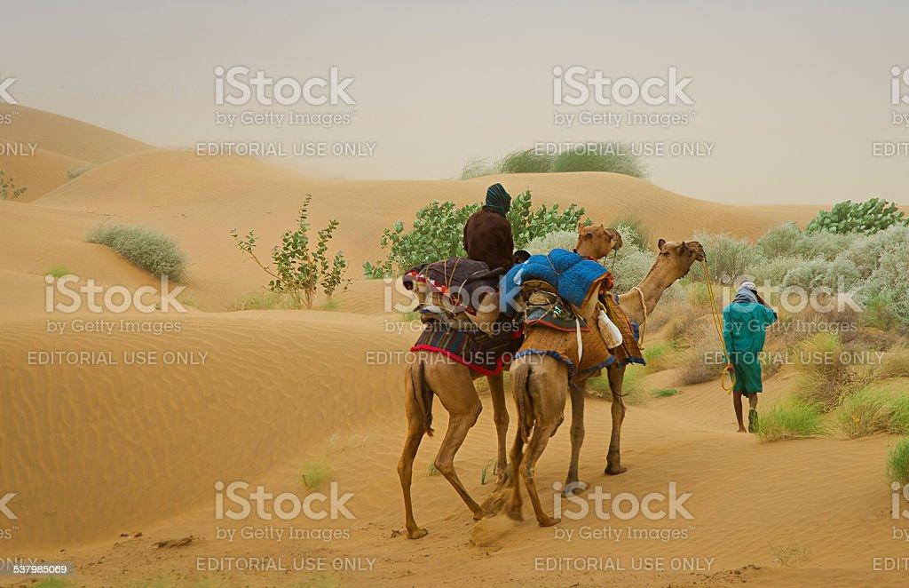 Tempête de sable et Caravane chameau passer par les dunes de sable photo libre de droits