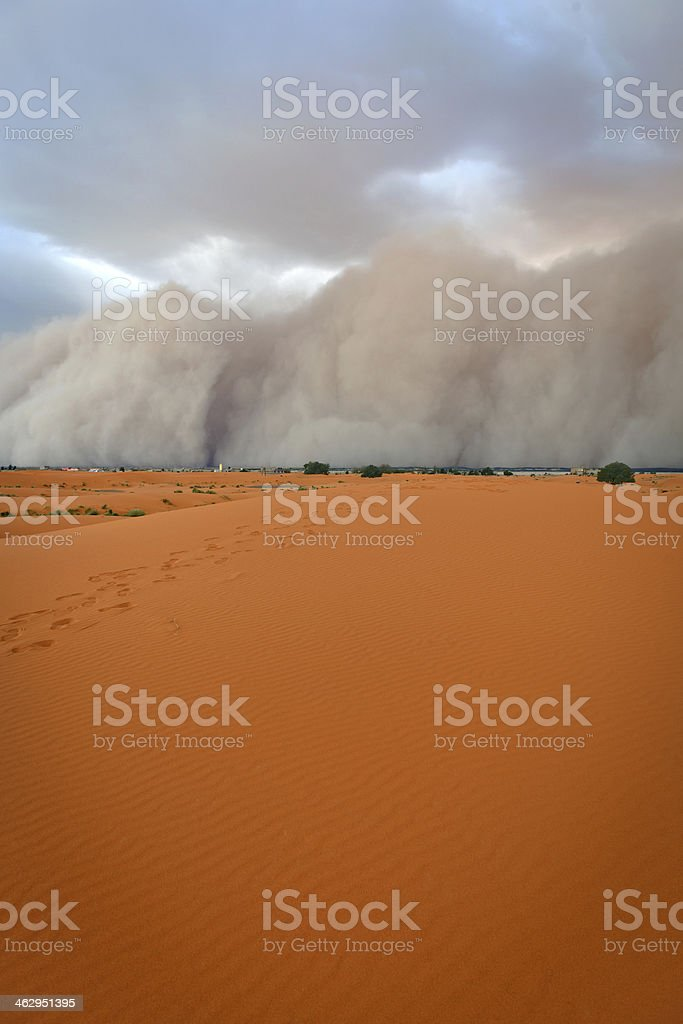 Sandstorm Approaching Merzouga Settlement, Morocco, Northern Africa stock photo