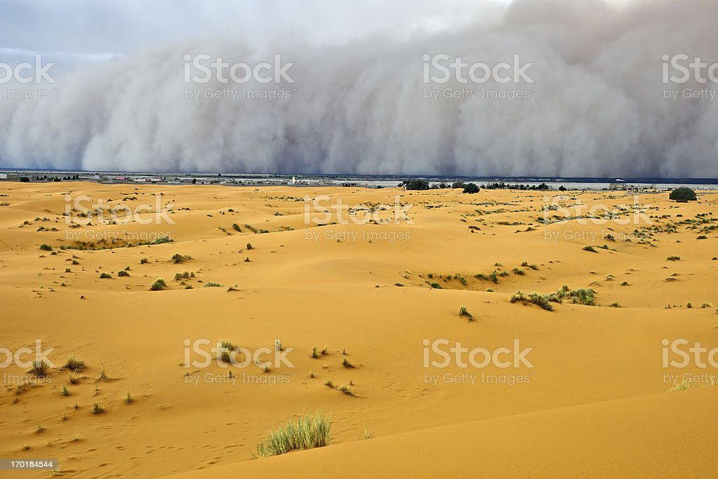 Sandstorm Approaching Merzouga Settlement Morocco stock photo