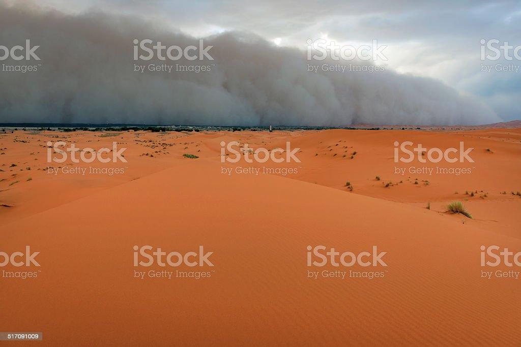 Sandstorm Approaching Merzouga Settlement Morocco stock photo