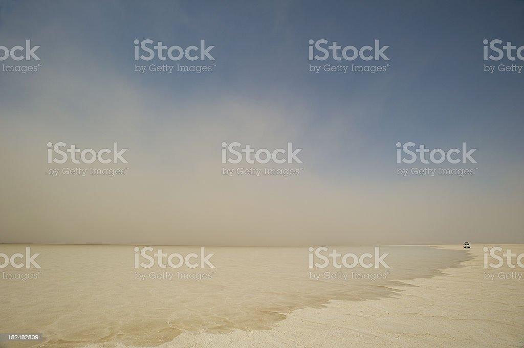 Sandstorm at Ass Ale salt lake, Danakil Desert, Ethiopia stock photo