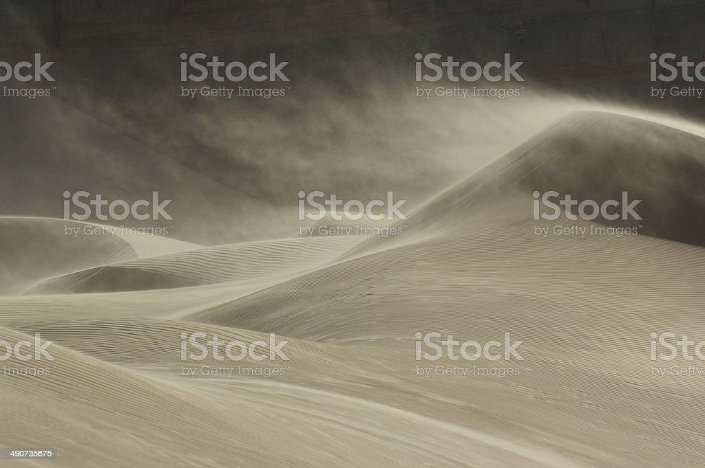 Sandstorm in Desert stock photo