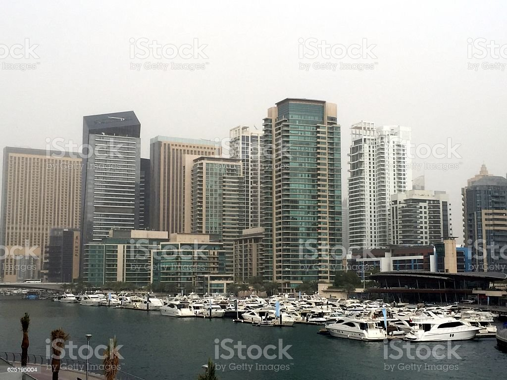 Sandstorm in Dubai stock photo