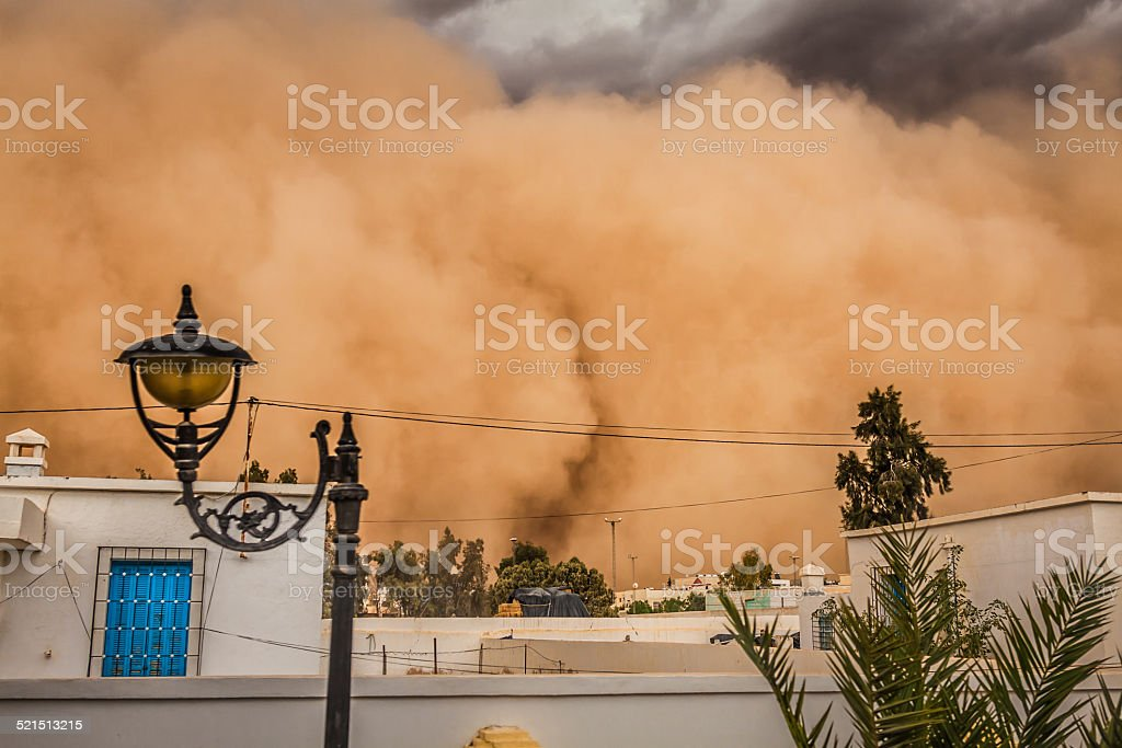 Sandstorm in Gafsa,Tunisia stock photo