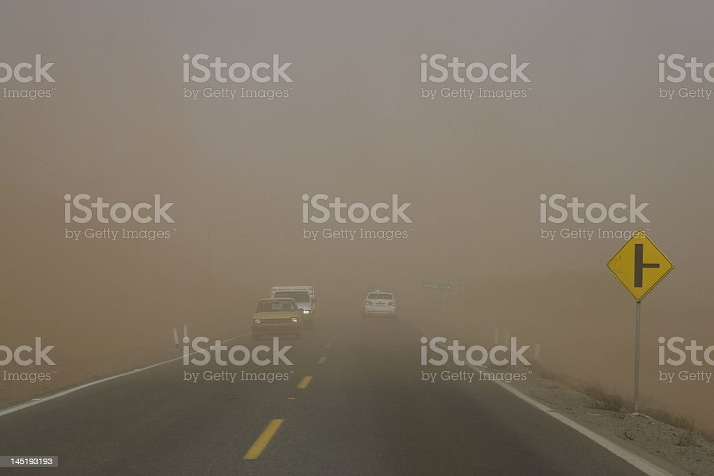 Sandstorm While Driving stock photo