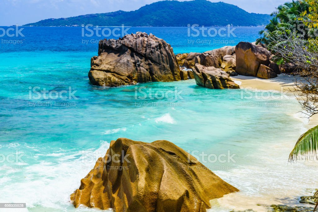 Sandstrand auf den Seychellen stock photo