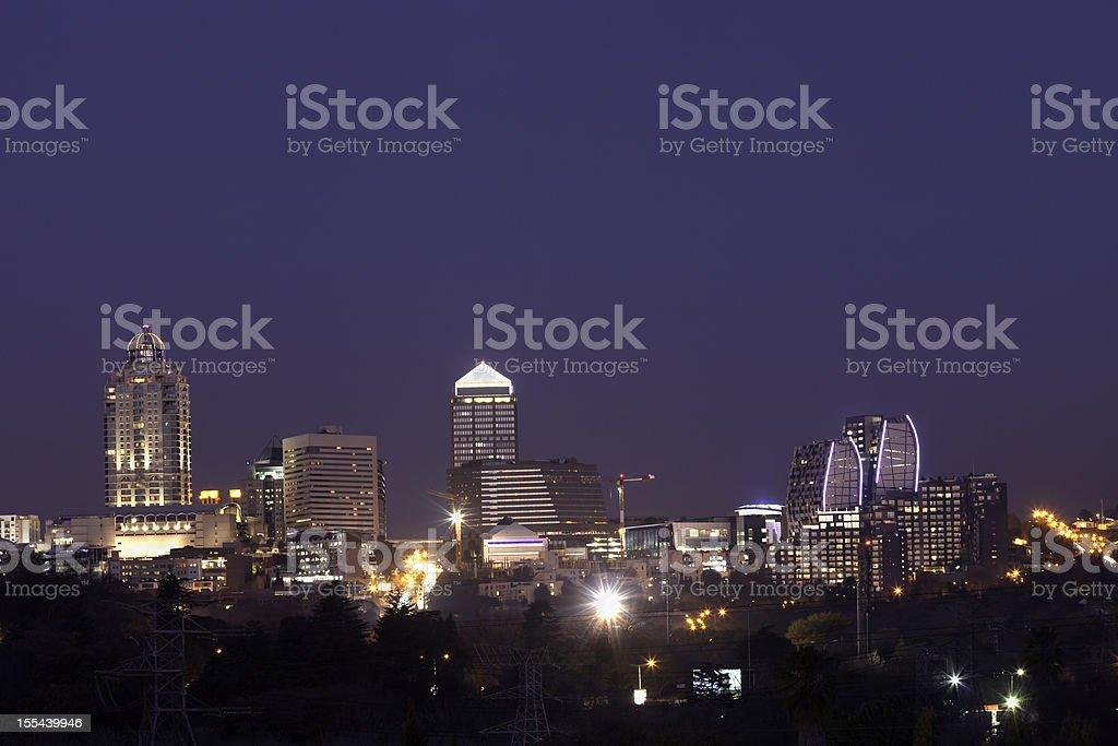 Sandton City Evening Skyline royalty-free stock photo