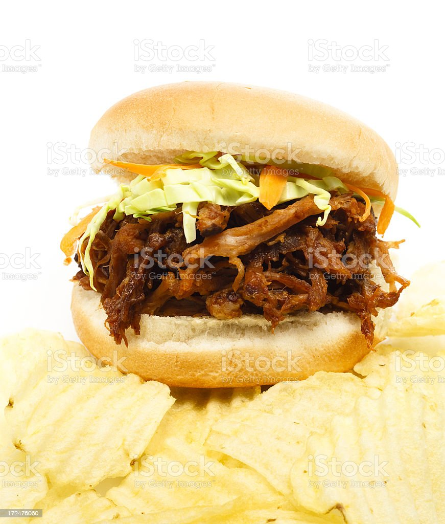 BBQ Sandwich and Chips royalty-free stock photo