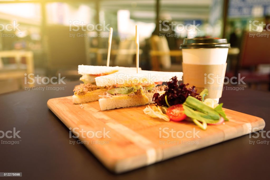Sandwich and coffee stock photo