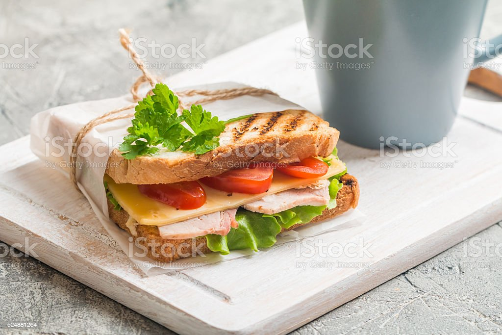 Sandwich and Coffee stock photo