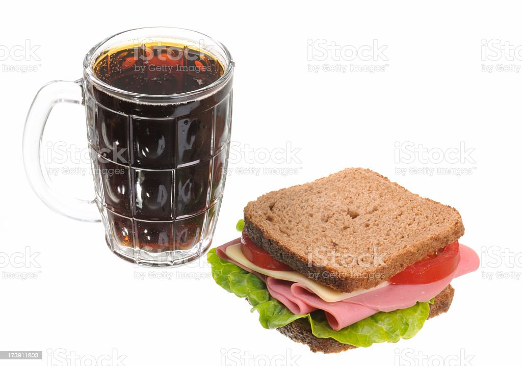 Sandwich and Cold Drink royalty-free stock photo