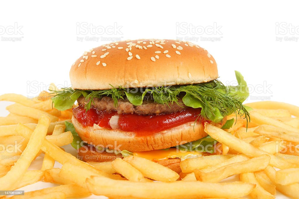 sandwich and french fries royalty-free stock photo