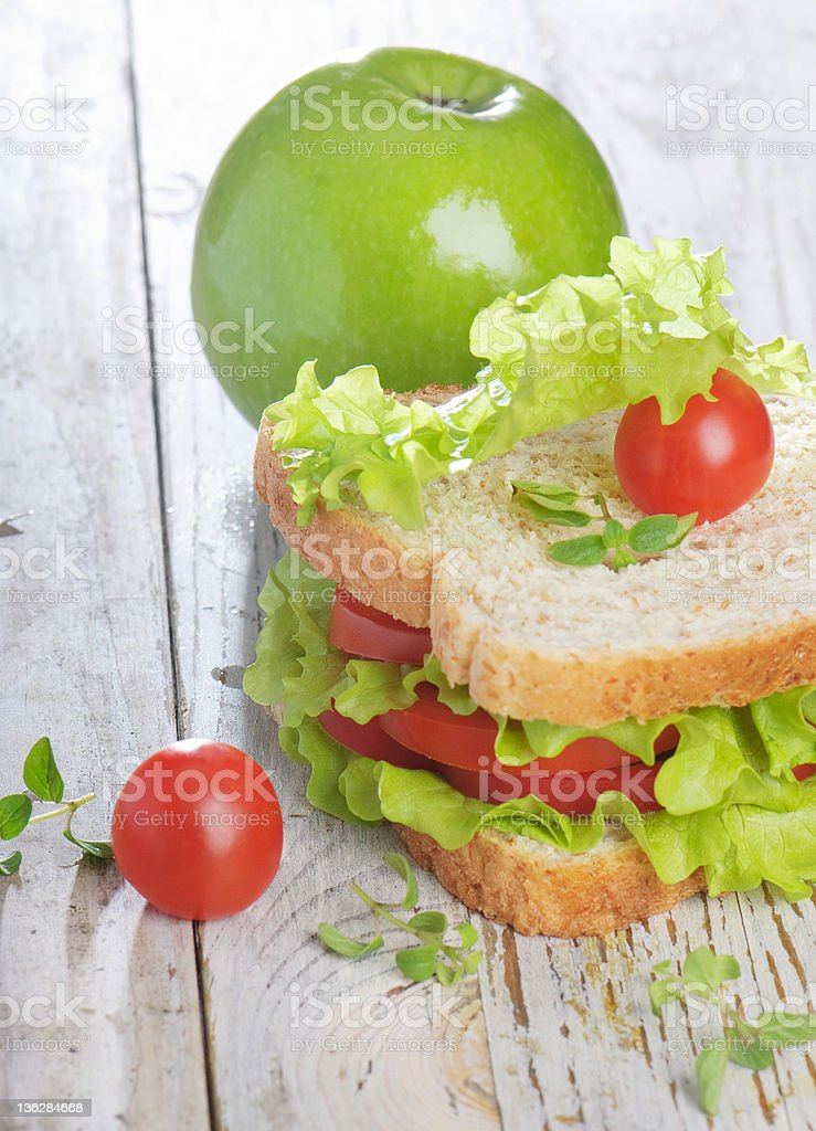 sandwich and green apple royalty-free stock photo
