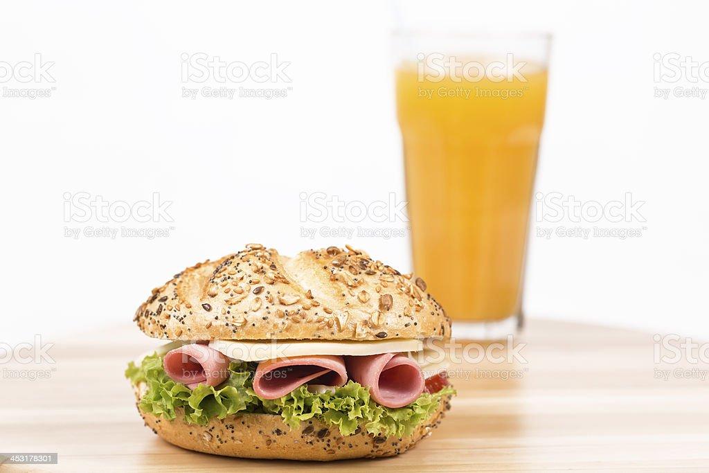 sandwich and orange juice royalty-free stock photo