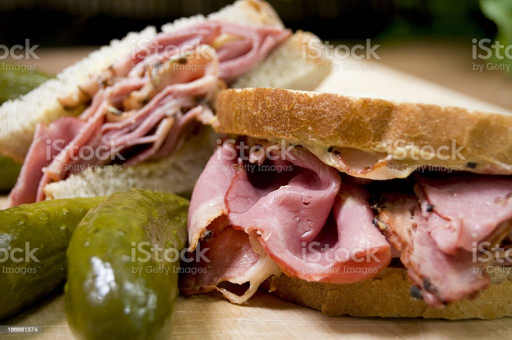 Sandwich and pickles stock photo