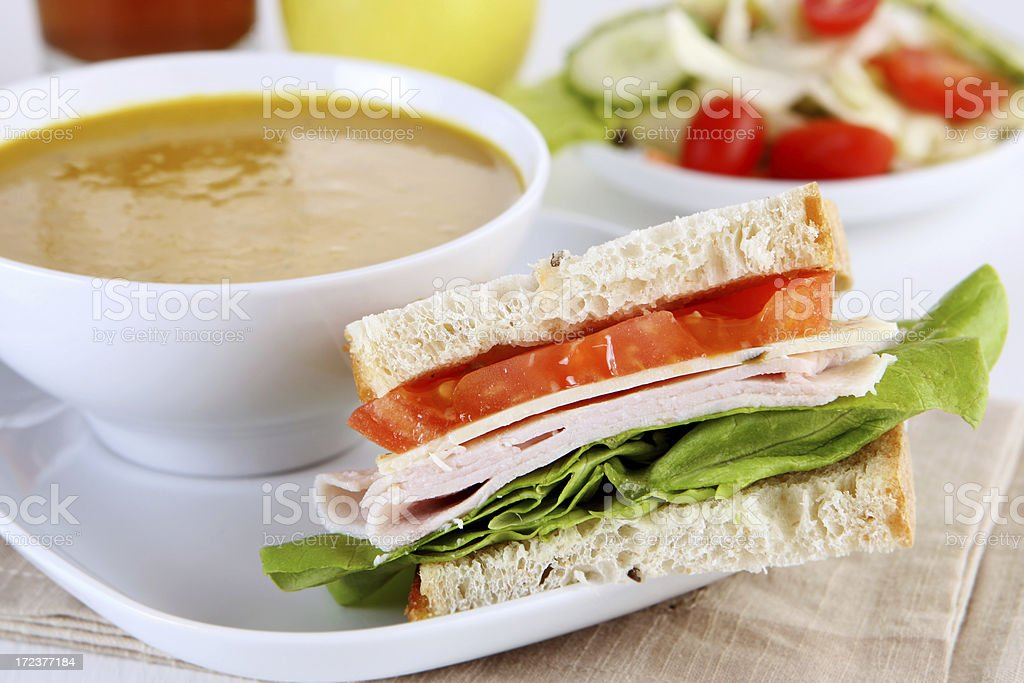 sandwich and squash soup stock photo