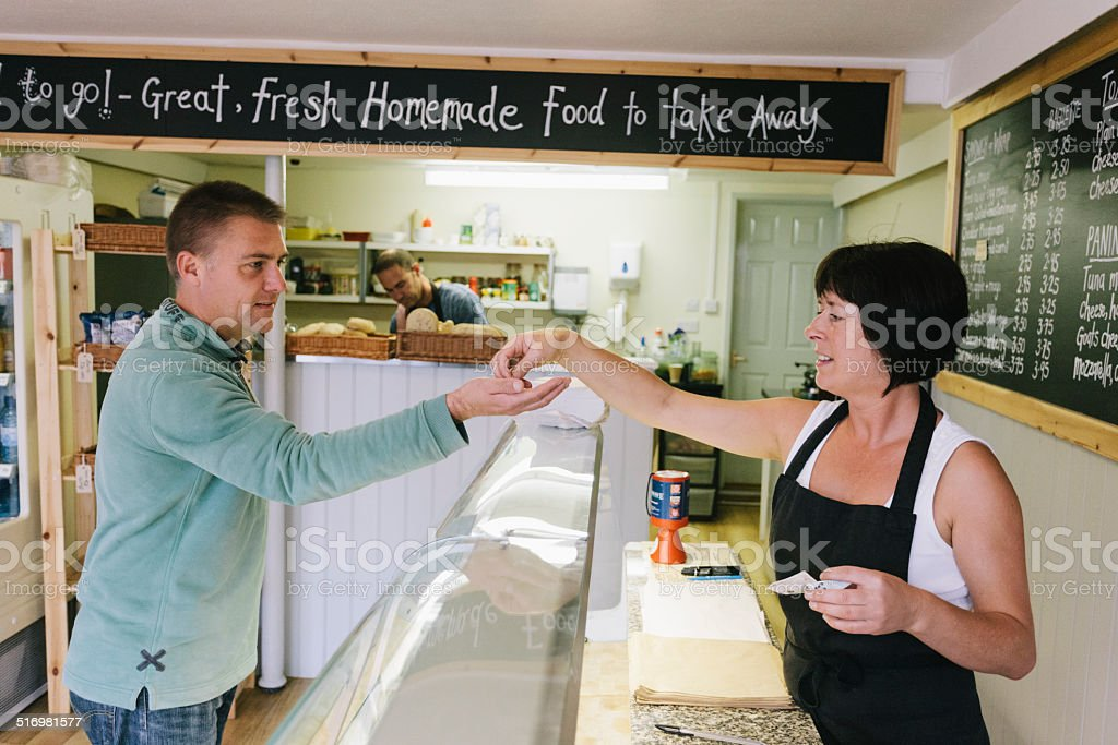 Sandwich bar customer stock photo