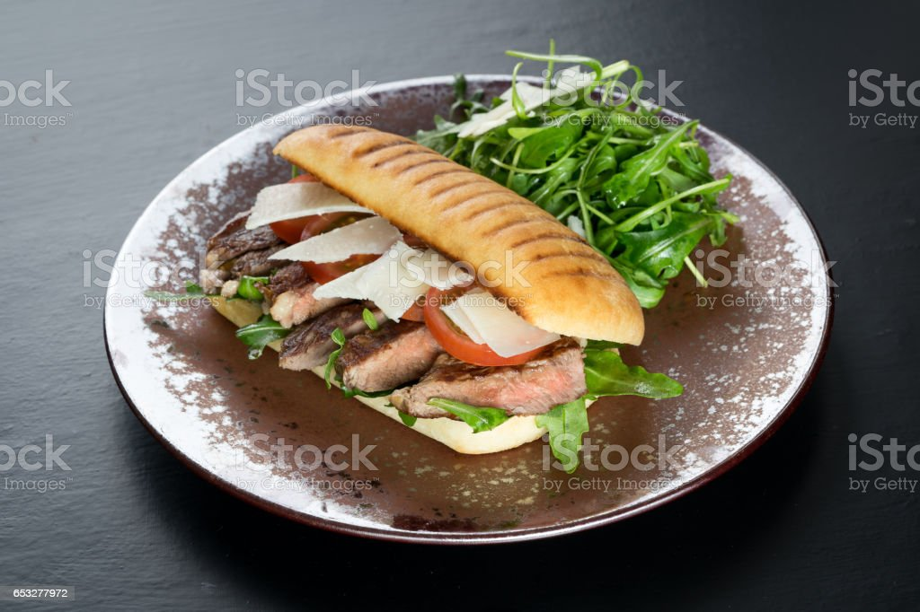 sandwich beer steak dinner stock photo