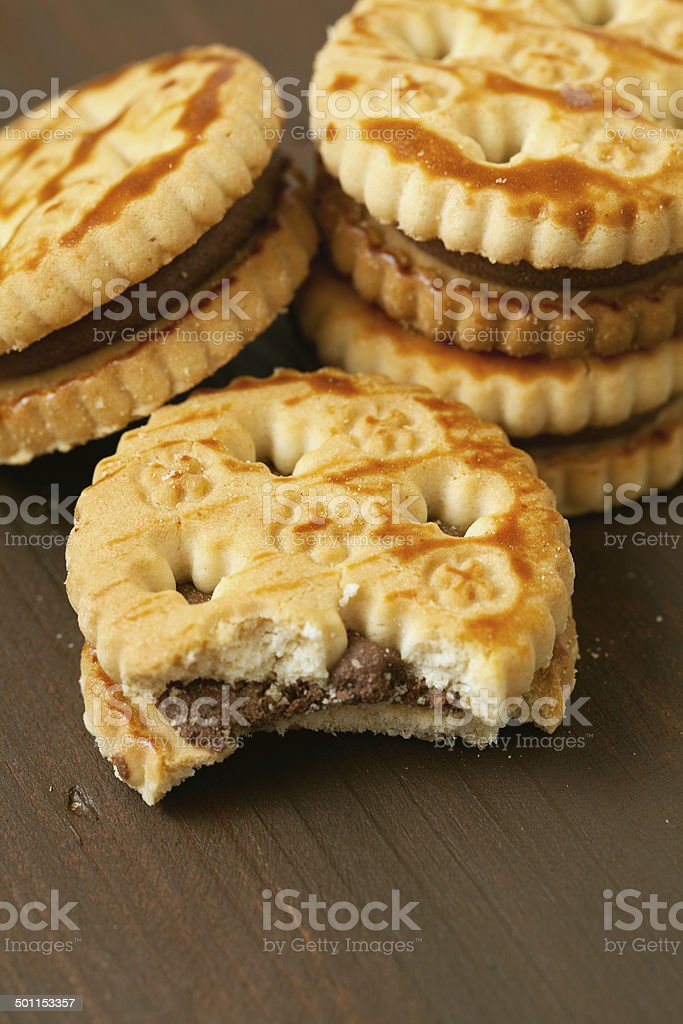 sandwich biscuits with chocolate filling stock photo