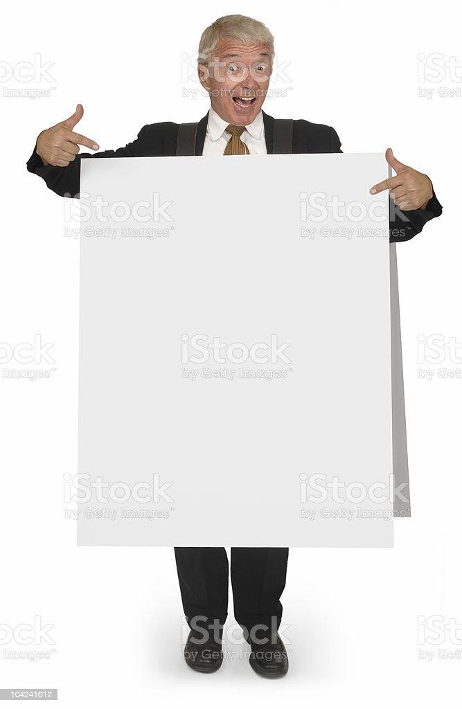 Sandwich board CEO stock photo