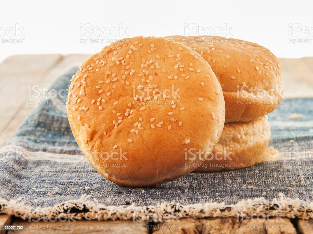 sandwich bun with sesame seed stock photo