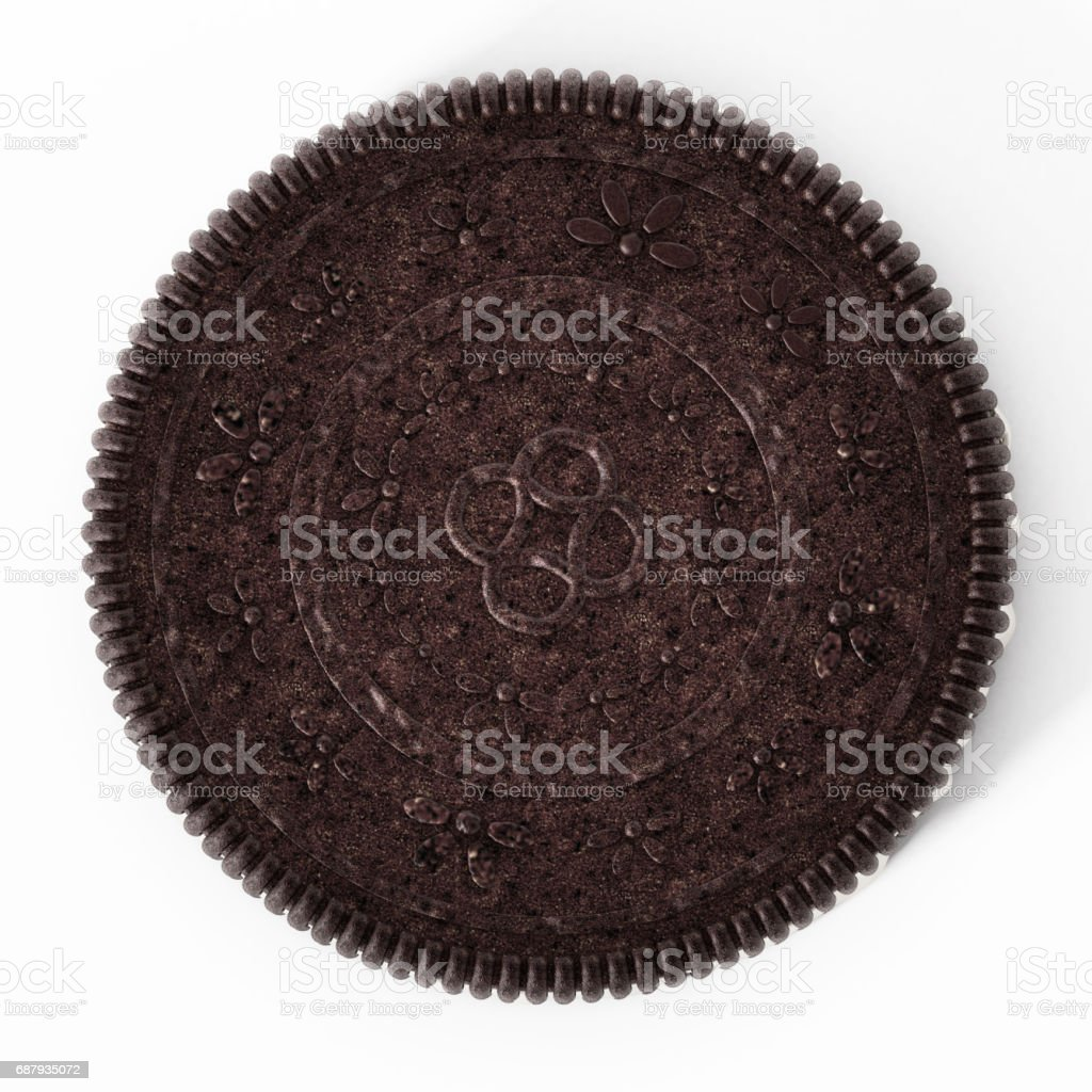 Sandwich cocoa cookie with crema inside stock photo