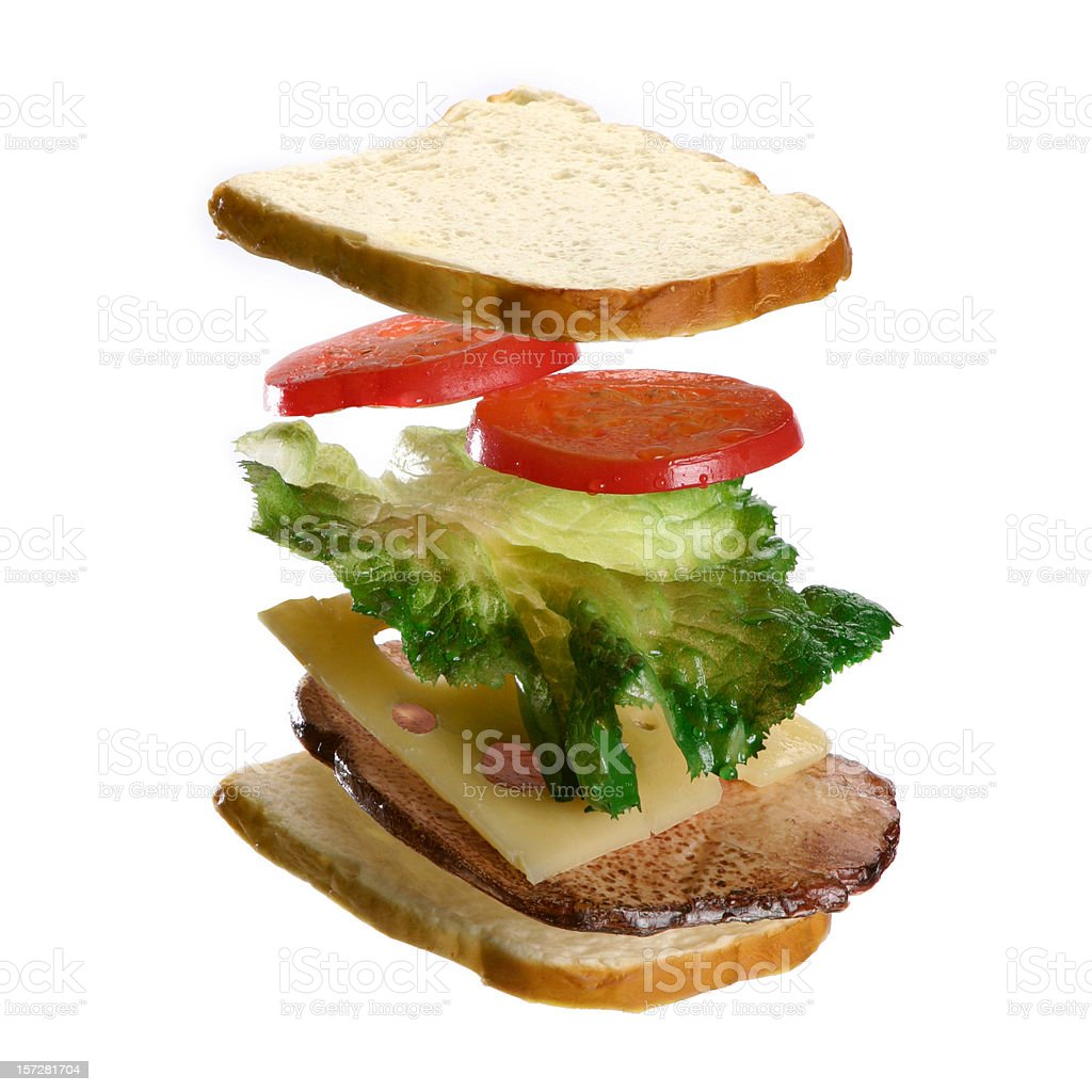 Sandwich coming together in air. royalty-free stock photo