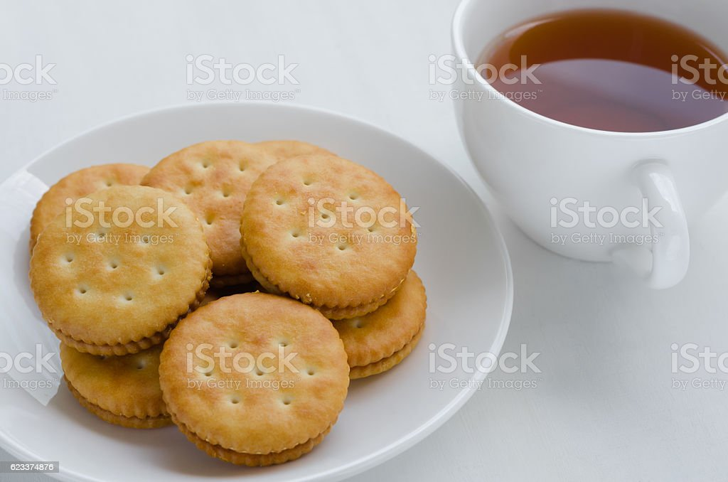 Sandwich Cream Crackers and Tea for Breaking Time. stock photo