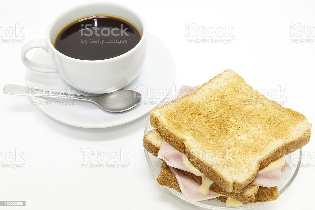 Sandwich ham cheese and coffee. royalty-free stock photo