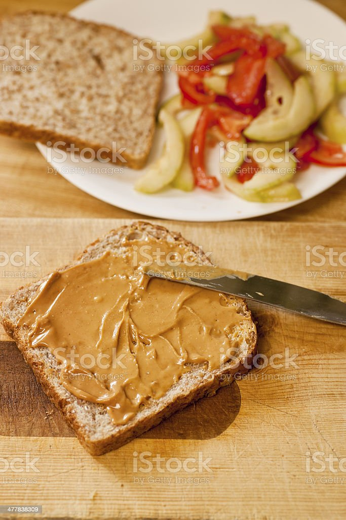 Sandwich Ingredients: Peanut Butter and Bread royalty-free stock photo