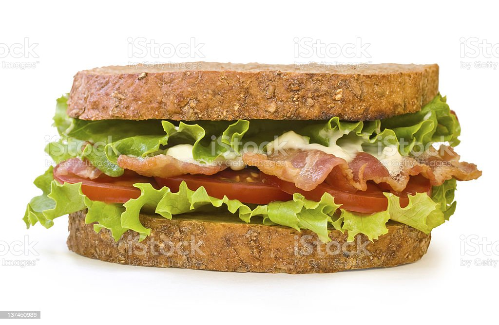 BLT Sandwich isolated on white stock photo
